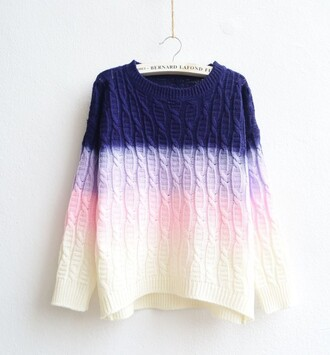 sweater ombre purple lilac cozy pink white cute warm fall outfits winter outfits fashion style gradient knitwear