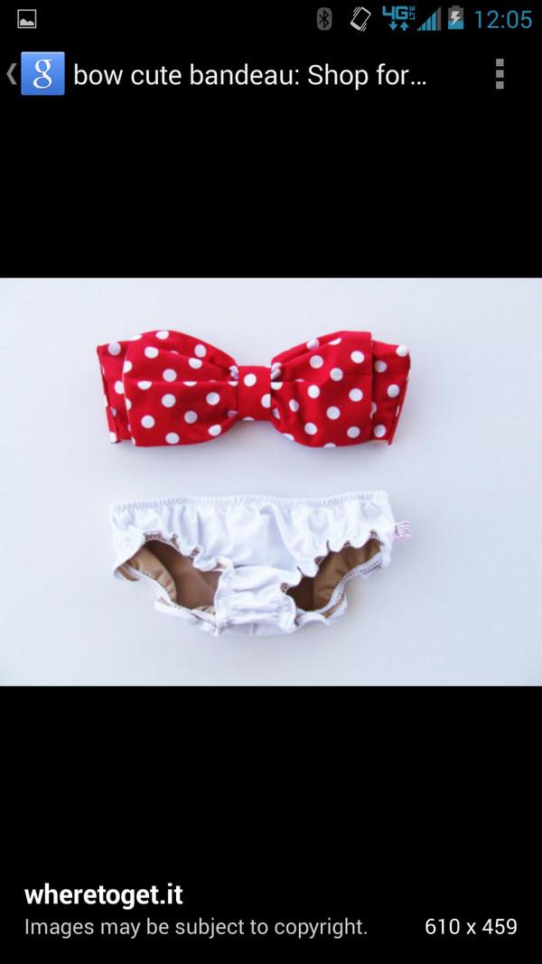swimwear polka dots bow red white