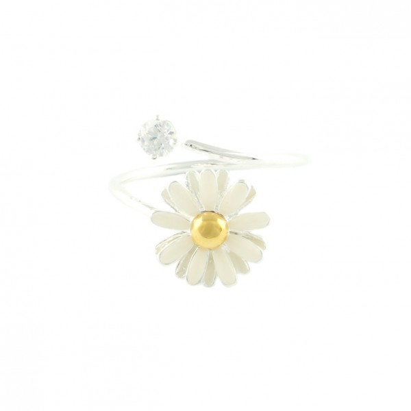 Daisy wrap ring with crystal