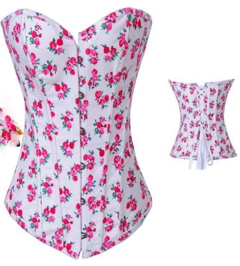 New Size s M L XL White Denim Sexy Sweetheart Neckline Pink Floral Corset | eBay