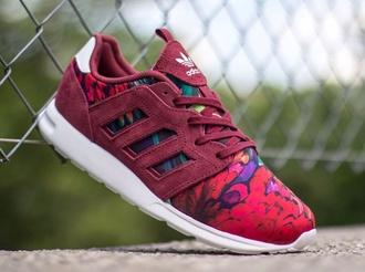 shoes adidas zx flux floral bordeaux 2.0