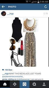 leopard print,strech pants,high waisted pants,wide-leg pants