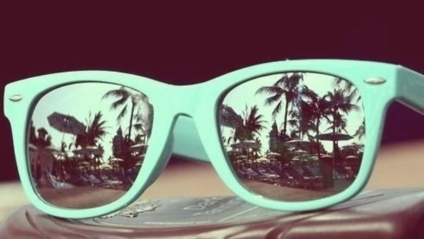 sunglasses mint pastel cute summer sun funny palm tree print tree palm mirror reflection square blonde hair brunette beach se