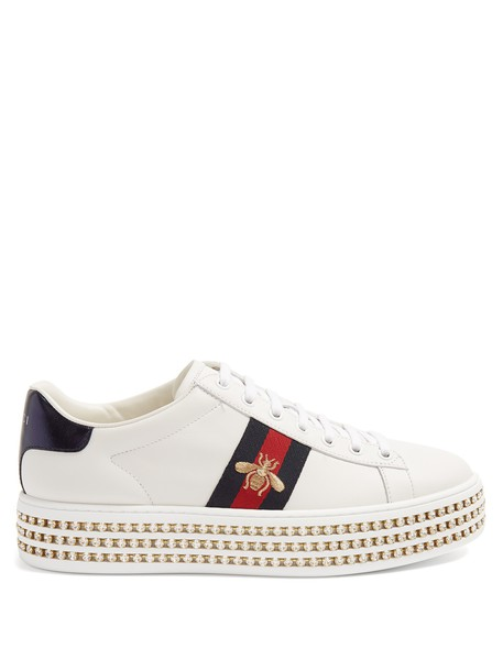 gucci new embellished leather silver white shoes