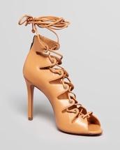 shoes,beige,taupe,lace up,pumps,gladiators,sandals,cut-out,peep toe,tan