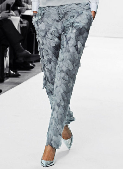 blue runway grey clothes pants feathers silver
