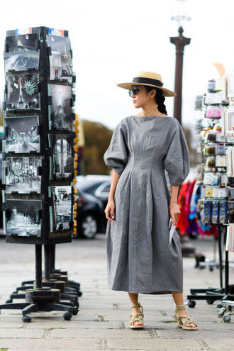 dress fashion week street style fashion week 2016 fashion week paris fashion week 2016 midi dress grey dress hat sun hat sandals flat sandals streetstyle three-quarter sleeves puffed sleeves sunglasses puff sleeve dress