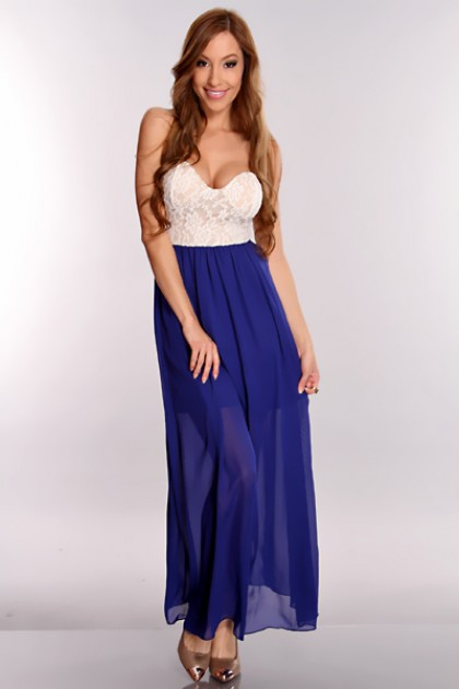 Blue Crochet Sheer Maxi Dress @ Amiclubwear sexy dressessexy ...