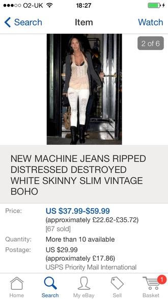 jeans ripped jeans white jeans skinny jeans slim fit vintage megan fox boho ebay blouse