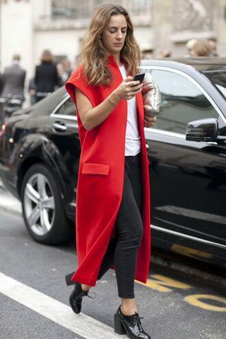coat red short sleeve fashion fashion week 2015 cap sleeve cap sleeve coat short sleeve coat