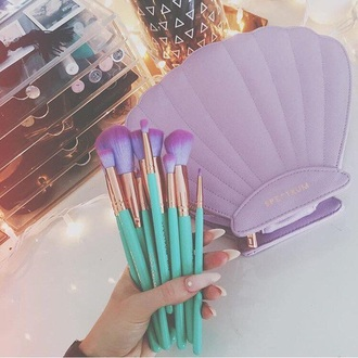 make-up make up purple blue mermaid the little clutch the little mermaid beautiful teal lavender makeup brushes teal/ mintgreen purple makeup brush face makeup cosmetics shell