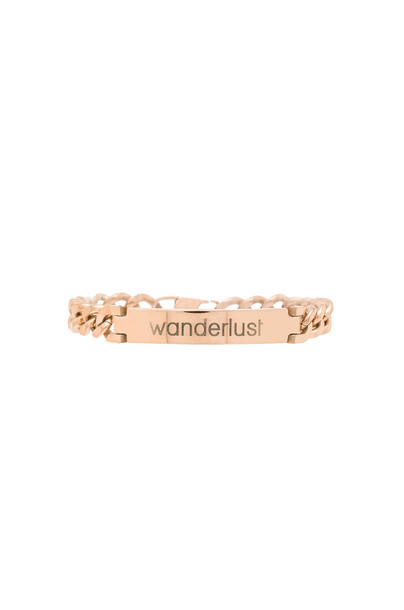 Tawnie & Brina Engraved Wanderlust ID Bracelet in in metallic / copper