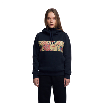 sweater hoodie hooded sweater blue hoodie blue sweater pants black pants print printed hoodie streetstyle streetwear long sleeves girl clothes fashion style fusion navy hood