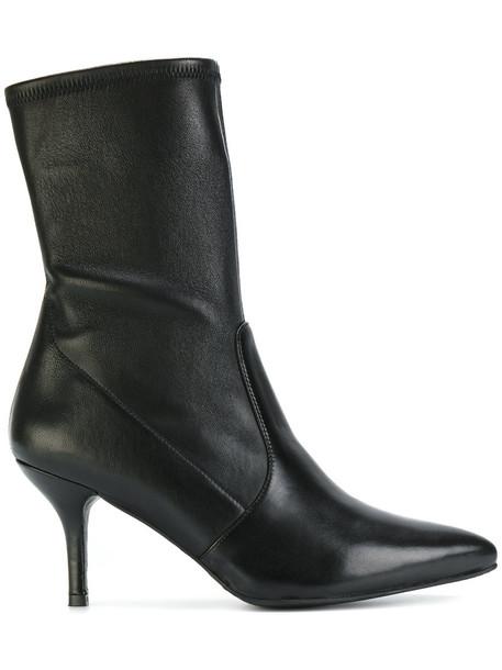 STUART WEITZMAN women boots leather black shoes