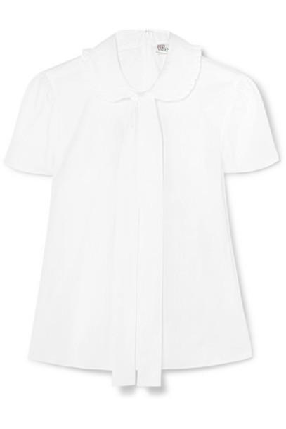 shirt bow white cotton top
