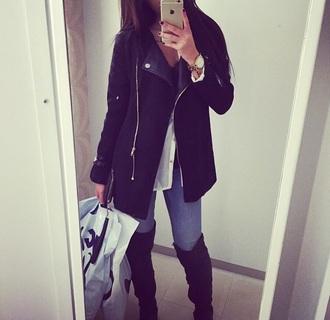 jacket black fashion leather winter warm coat blaser blazer warm winter coat