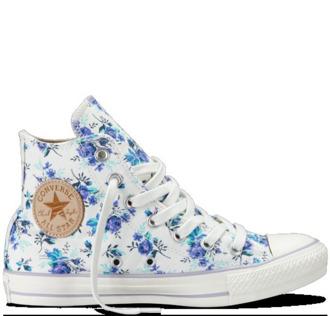 shoes converse high top converse white blue flowers blue flowers floral