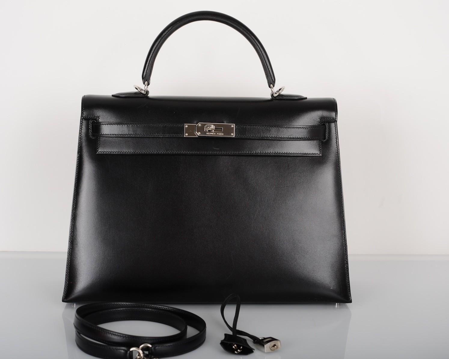 Hermès Black Box Leather 35cm Kelly Bag Palladium Hardware | Portero Luxury
