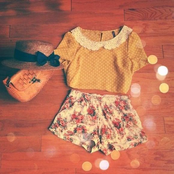polka dots blouse collared mustard yellow t-shirt hat shorts