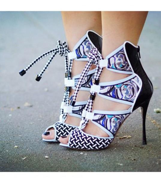 shoes printed sandals sandals sandal heels high heel sandals