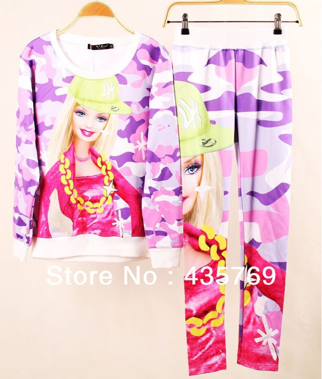 2014 3D Barbie Cartoon Print Hoodie Set Autumn Winter Womens Leisure Suit Brand Designer womens t shirt Leggings Sport Suits-in Hoodies & Sweatshirts from Apparel & Accessories on Aliexpress.com