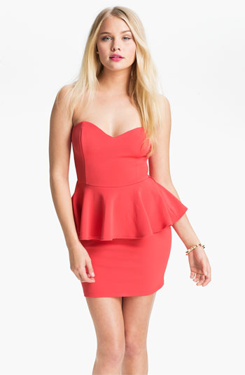 Strapless Peplum Dress (Juniors) | Nordstrom