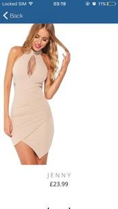 dress,bodycon dress,nude,nude dress,bodycon,beige,mini dress
