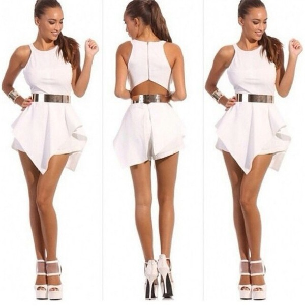white dress clubwear belted dress short party dresses