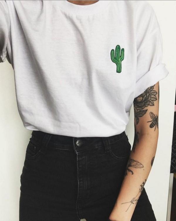 t-shirt, tumblr, pale grunge, loose, cactus shirt, tumblr ...