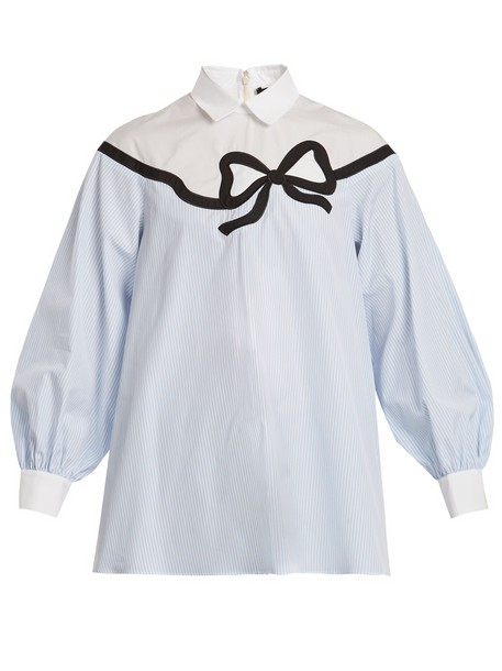 shirt bow cotton blue top