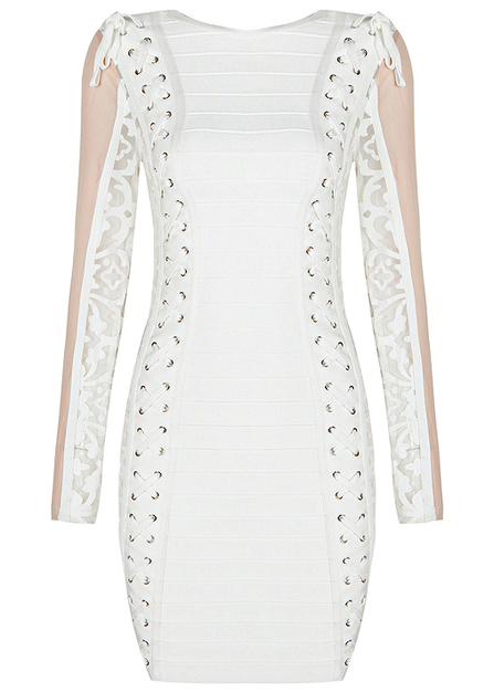 Long Sleeve Lace Insert Lace Up Bandage Dress White