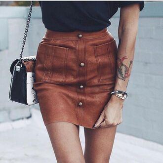 skirt tumblr brown skirt mini skirt button up button up skirt bracelets tattoo