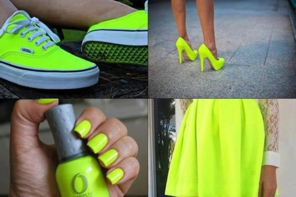 skirt neon nail polish shoes heels