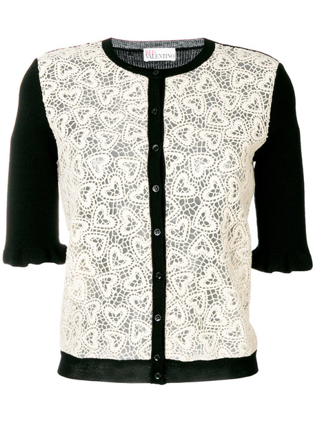 Red Valentino - heart laced cardigan - women - Cotton/Polyamide/Virgin Wool - M, White, Cotton/Polyamide/Virgin Wool