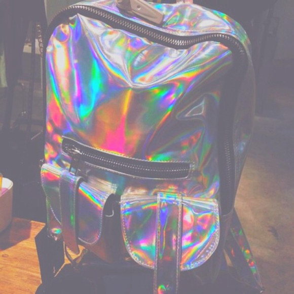 bag silver shiny grunge rainbow reflective backpack