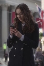 coat,gold buttons,pretty little liars,cape,camper,troian bellisario,spencer hastings,black,pants