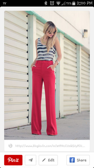 red pants highwaisted bootcut