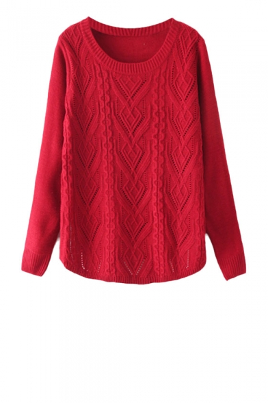 Plain round neck long sleeve sweater in cable knit