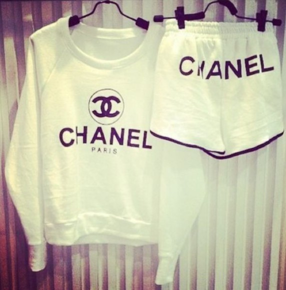 chanel white chanel paris compfy chanel shorts chanel sweater coco ❤️