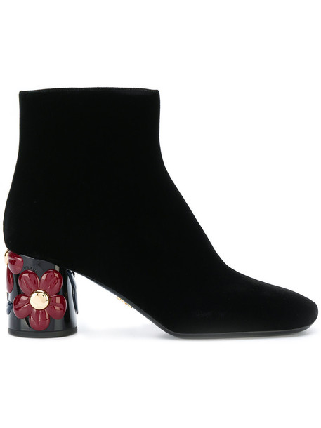 Prada heel women ankle boots floral leather black velvet shoes