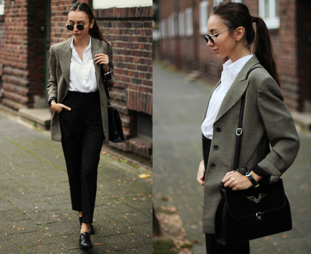 blouse classy black glasses smart
