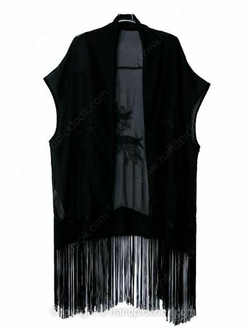 Black Short Sleeve Tassel Embellished Loose Coat - HandpickLook.com
