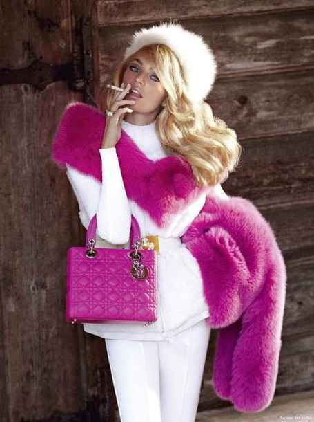 coat hat candice swanepoel hot pink white winter outfits jacket