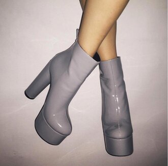 shoes boots light blue grey cute platform boots