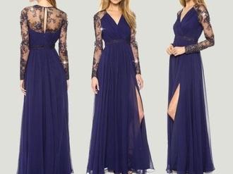 dress long dress blue dress navy dress beautiful long dresses 2014 purple dress lace dress evening dress