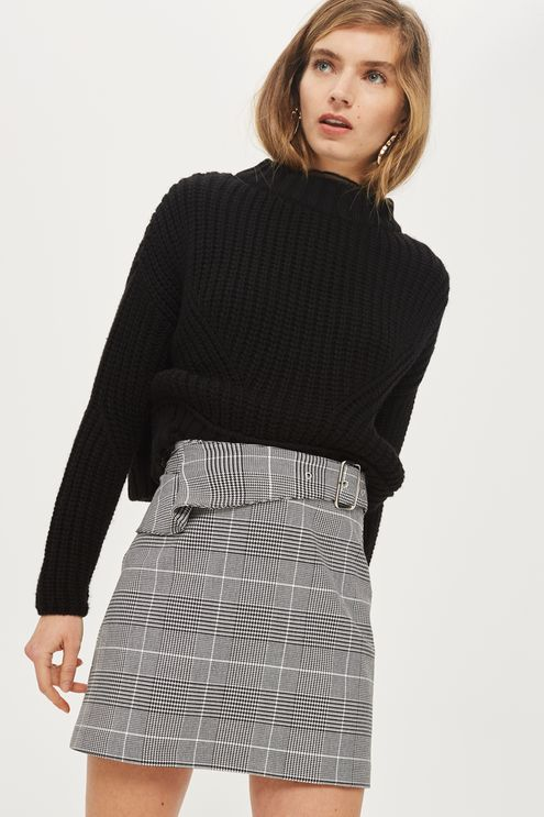 Checked Buckle Peplum Mini Skirt