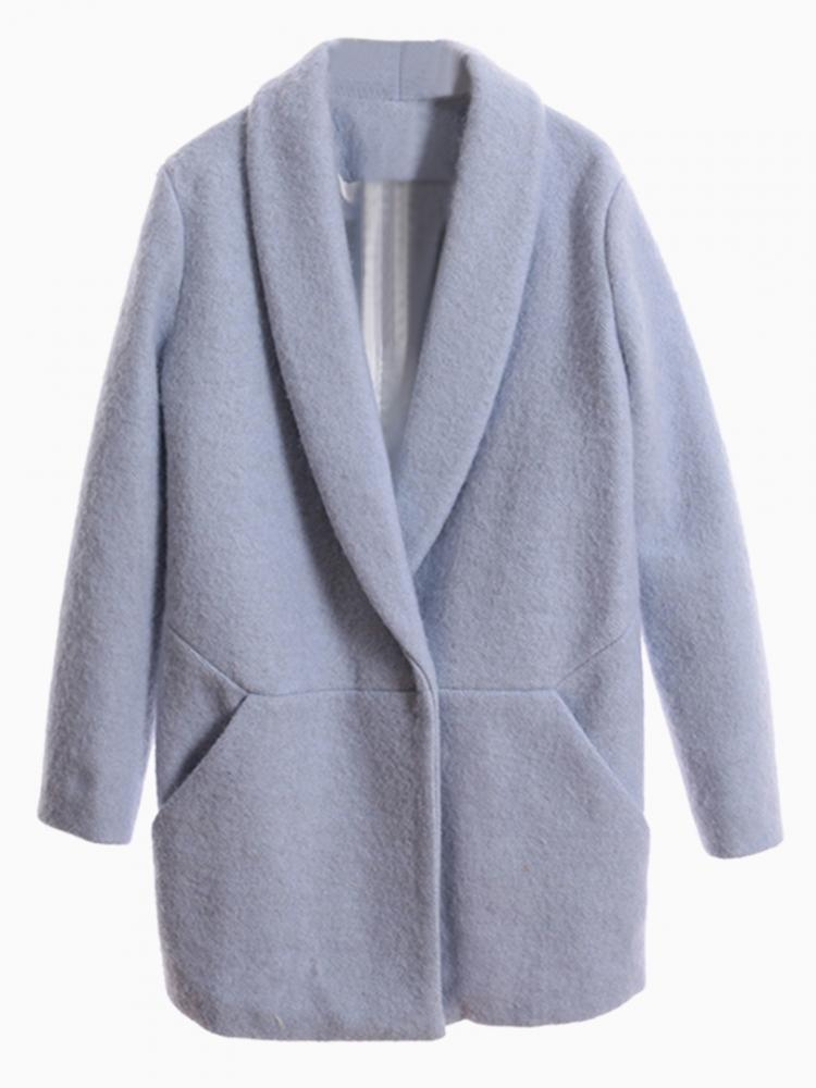 Blue Lapel Coat | Choies