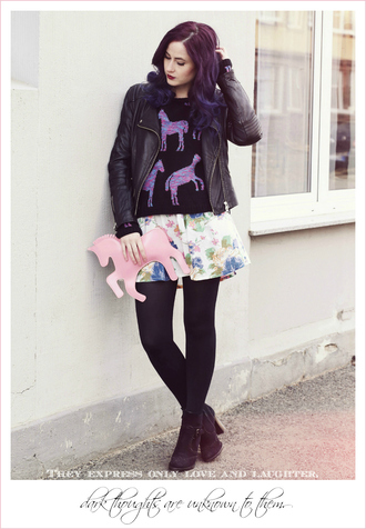 like a riot blogger bag flare skirt floral skirt perfecto holiday gift unicorn