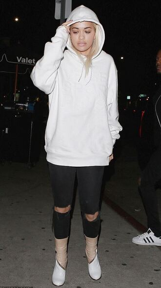 sweater ripped jeans boots rita ora hoodie