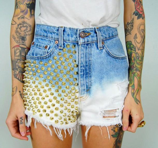 shorts dyed shorts spikes frayed shorts